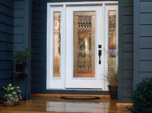 Fiberglass Front Entry Single Door with Two Sidelights and Decorative Glass