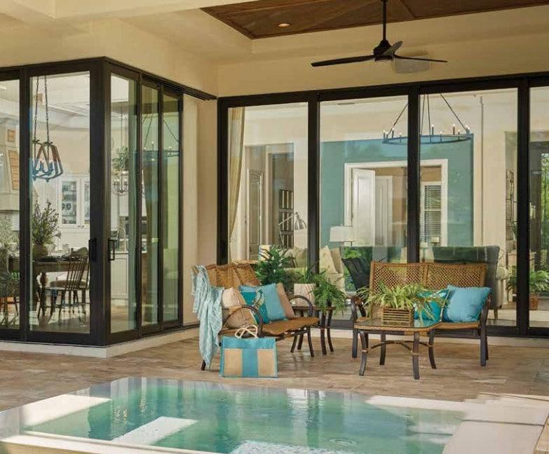 PGT Preferred Sliding Glass Doors Black Vinyl Frames Karoly Windows and Doors Clearwater Palm Harbor St Petersburg Tampa