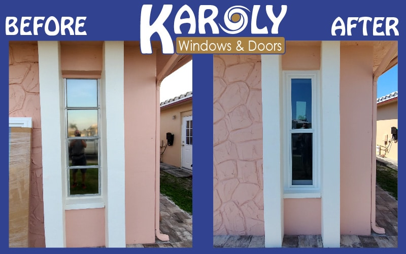 before and after replacement double hung window pinellas park largo clearwater karoly windows and doors